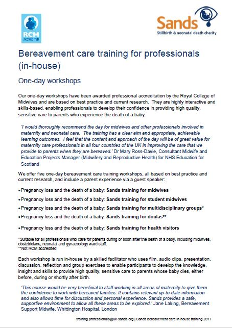 Sands Bereavement Care Training, one day workshop